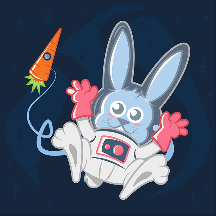 Space Rabbit - Jérémy Cochet graphiste illustrateur